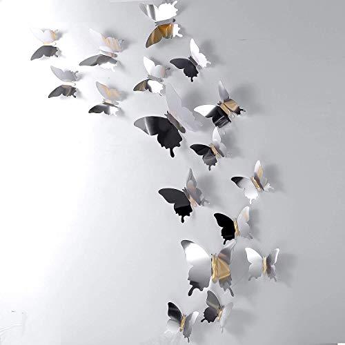 LULJY 60 Pezzi Fai da te Specchio Farfalla Combinazione 3D Farfalla Parete Adesivi Decorazioni Casa (Argento)