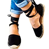 Gibobby Sandals for Women with Heels Womens Casual Clip Espadrilles Trim Flatform Studded Wedge Buckle Ankle Strap Sandals Black
