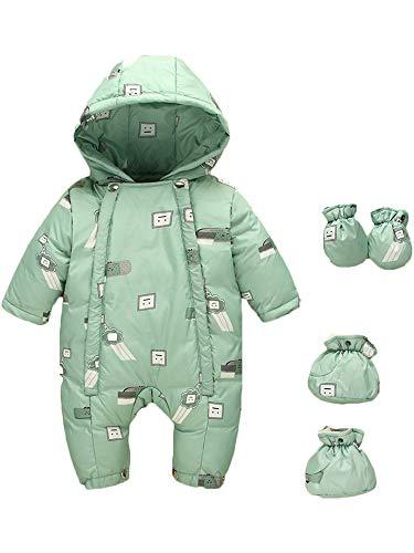 ZOEREA Bébé Doudoune Grenouillères Nourrisson Garçon Fille à Capuche Combinaison de Neige Hiver Chaud Epais Barboteuse Body Vert, Étiquette 80