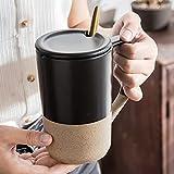 ZZRR Taza de cerámica de Gran Capacidad de 17 oz con Tapa y Cuchara, Adecuada para café, Avena y Leche, se Puede Usar para Regalos o Uso Personal