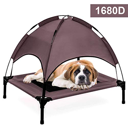 Reliancer 30''''8'' XLarge Elevated Dog Cot with Canopy Shade