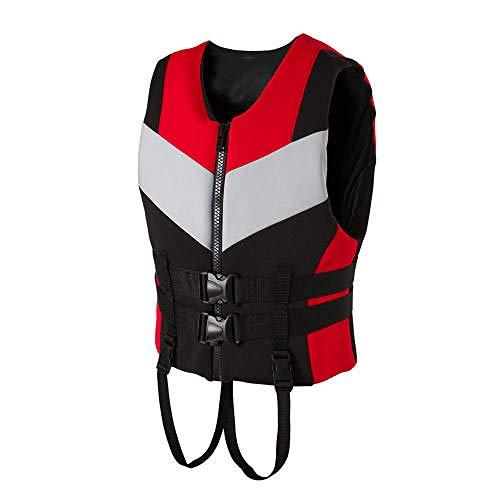 Yushen Chaleco Salvavidas de Neopreno Chaleco Salvavidas para Adultos Chaleco de Pesca para Deportes acuáticos-Rojo_XXL 90-100 KG