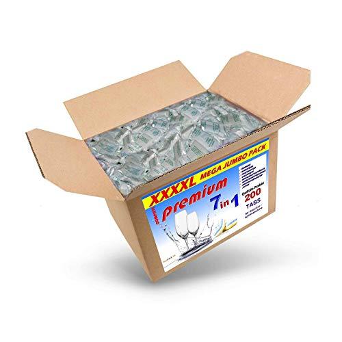 3,6 Kg (ca. 200) Spülmaschinentabs 7 in 1 in normaler Folie, A-Ware, Qualitätsware für jede Spülmaschine geeignet, Geschirrspültabs, Spültabs