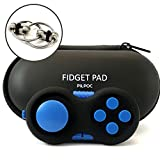 PILPOC Fidget Controller Pad Cube - Premium Quality Fidget Game Focus Toy, Smooth ABS Plastic with Exclusive Protective Case, Stress Relief Toy, for Add/ADHD (Black & Blue)