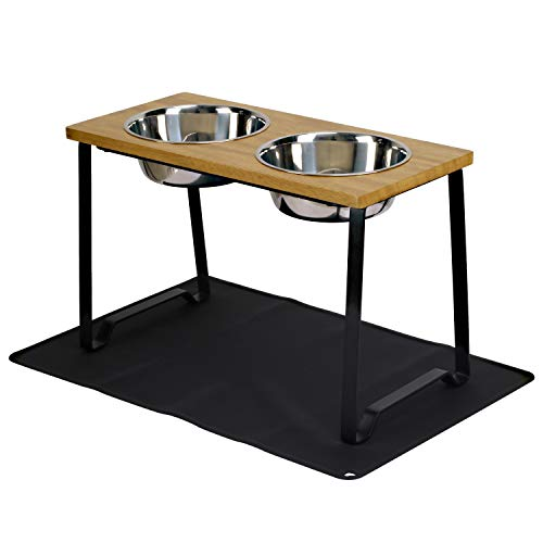 X-ZONE PET Raised Pet Bowls for Cats and Dogs, Walnut Wood Elevated Dog Cat Food and Water Bowls Stand Feeder with 2 Stainless Steel Bowls and Anti Slip Mat (Medium)