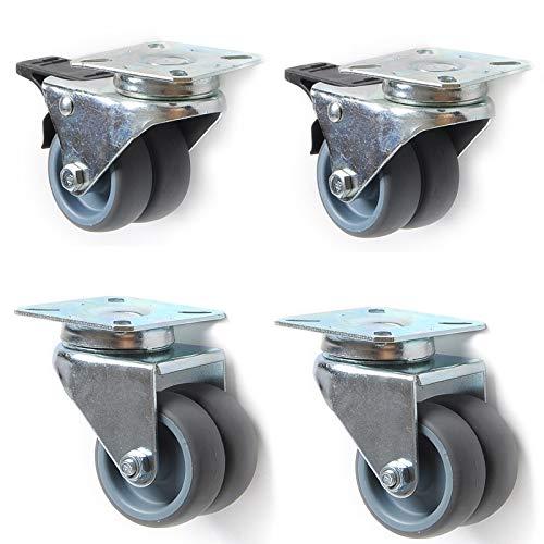 ACAMPTAR 2 Ruedas Giratorias de 2 Pulgadas, Rodillo Suave Giratorio de Alta Resistencia con Freno para Ruedas de Muebles de Carro de Plataforma