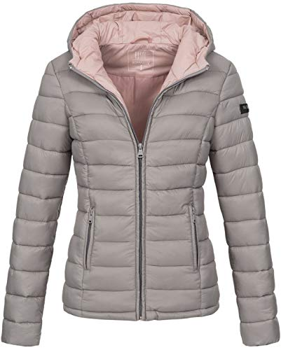 Marikoo Damen Jacke Steppjacke Herbst Winter Übergangsjacke gesteppt B651 [B651-Luc-Grau-Gr.XL]