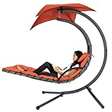 Best Choice Products Outdoor Hanging Curved Steel Chaise Lounge Chair Swing w/Built-in Pillow and Removable Canopy, Orange