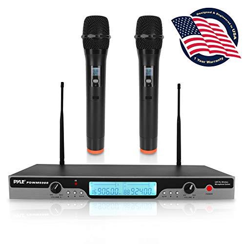 Pyle Pro PDWM5900 Quad VHF 4 - Micrófono inalámbrico con pantalla para coche, color negro