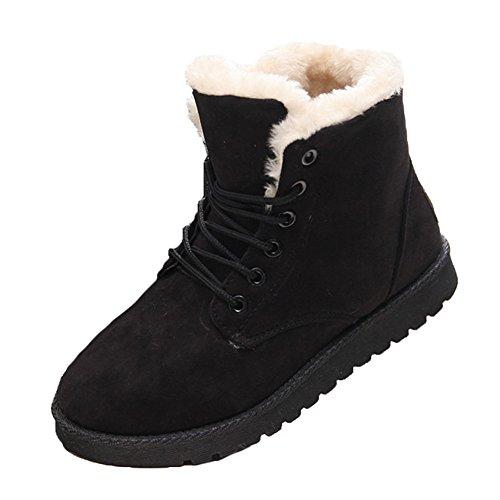 Damen Snow Boots mit Warm Gefüttert Schlupfstiefel Flach Stiefel Aquaschuhe Frauen Klassisch Kurzschaft Schuhe (EU Größe38=Etikettengröße 39, schwarz)