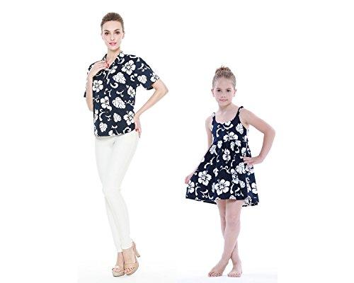 Conjunto de Luau hawaiano a juego con la hija de la madre Señora Camisa Vestido de niña PW Armada Hibisco 2XL-4