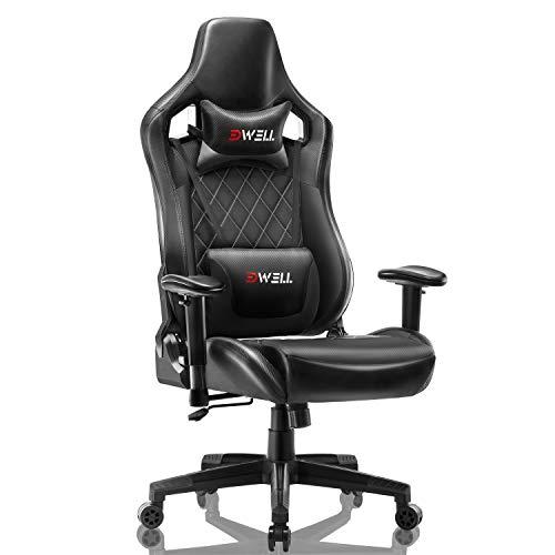 EDWELL Silla de videojuego ajustable silla de cuero de oficina silla de escritorio de ordenador...