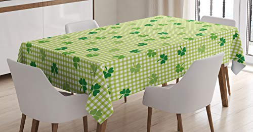 Ambesonne Irish Tablecloth, Retro Classical Checkered Pattern with Green Shamrocks Clovers Garden Plants, Dining Room Kitchen Rectangular Table Cover, 52' X 70', Yellow Green