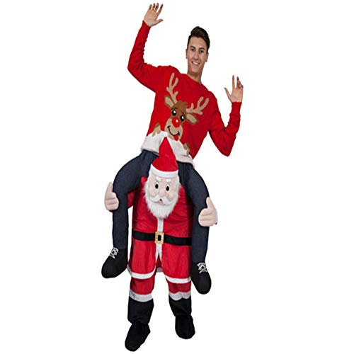Halloween Carry Ride On Me Shoulder Santa Claus Mascot Costume Ride On Costume