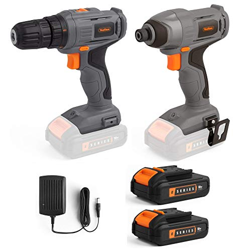 VonHaus Cordless 18V Drill and Impact Driver Set with Two E-Series 1.5 Ah Batteries and One Charger - Ergonomic Lightweight Screwdriver – Variable Speed Trigger - Strong and Tight Drilling