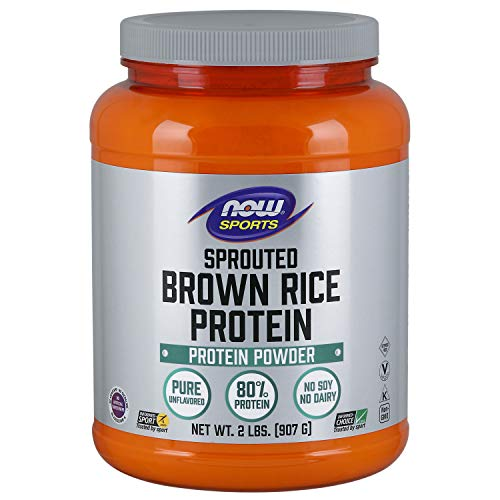 NOW Sports Nutrition, Sprouted Brown Rice, 80% Protein, Unflavored Powder, 2-Pound, 32.0 Ounce