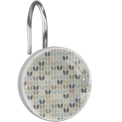 Rust-proof Stainless Steel Shower Curtain HooksSet of 12Shower Curtain Rings Shower Hooks.Geometric Pattern Pastel Tints