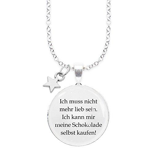 Spruchketten BY LIEBLICHKEITEN Nickelfreie Kette 80 cm mit Anhänger Spruch in 2,5cm großer Glaslinse und Charm: Ich muss Nicht mehr lieb Sein …