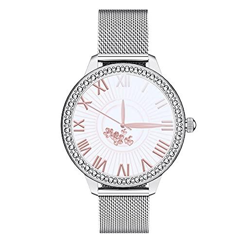 HQPCAHL Smartwatch Reloj Inteligente para Mujeres, Impermeable IP68 Reloj Deportivo con Salud De La Mujer/Monitor De Frecuencia Cardíaca/Saturación De Oxígeno/Presión Arterial/Sueño,Plata