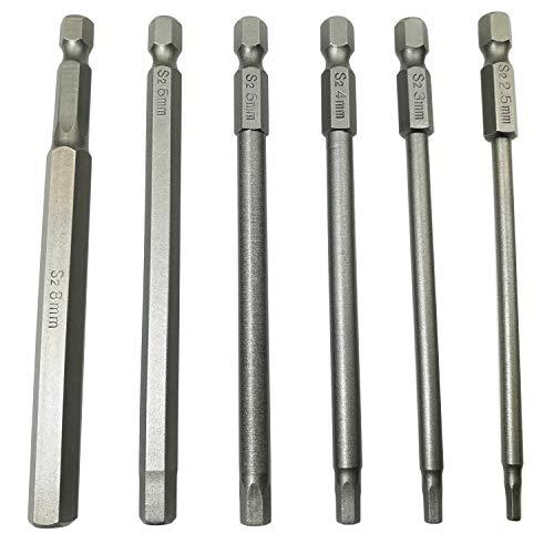 LEROM 6Pcs Hex Head Allen Wrench Drill Bit Set, 100mm/4 inch long Magnetic Inner Hexagon Hex Head Drill Screwdriver Bits Set with 1/4 Inch Hex Shank Quick Release Screwdriver Bit