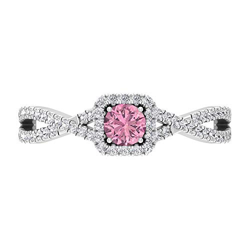 Rosec Jewels 14 quilates oro blanco redonda round-brilliant-shape H-I Pink Diamond Tourmaline