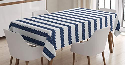 ABAKUHAUS Armada Mantele, Diseño Sea Life Marina, Fácil de Limpiar Colores Firmes y Durables Lavable Personalizado, 140 x 200 cm, Violeta Azul y Blanco
