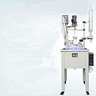 50L Single lined Jacketed glass reactor with condenser with dropping flask with SUS304 Water heat bath for Lab dry distillation