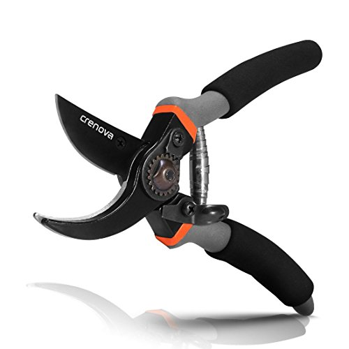 CRENOVA Hand Pruner, Professional 8'' Premium Titanium Bypass Pruning Shears, Premium Utility Garden Clippers Scissors with Sponge Handle Protector, Best Plant Flower SK-5 Steel Blade Cutter for Lawn