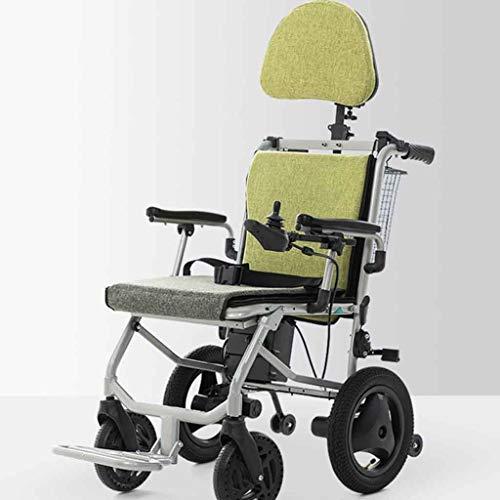 Elektrischer Rollstuhl Mit Kopfstütze,Elektrorollstuhl,Faltbar Tragbare,Sitzbreite 44Cm(Kann 120Kg Unterstützen),Rückenlehne Und Pedalwinkel Können Eingestellt Werden ( Size : Dual control )