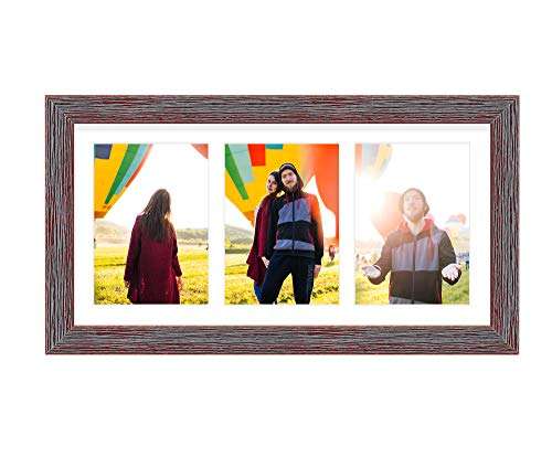 Golden State Art, 7x14 Distressed Red Wood Frame - 3-Opening White Mat for 4x6 Pictures - Portrait or Landscape Wall Mounting - Sturdy and Easy to Install - Real Glass