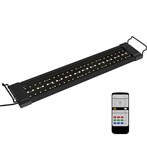 NICREW RGB Plus Lampada Acquario, 24/7 LED Acquario Spettro Completo, Plafoniera LED Acquario con Telecomando, Luce Acquario per Piante 55-88 cm, 18W 910LM