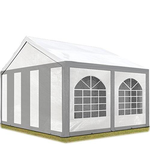 TOOLPORT Tente de réception 3x4 m Toile de Haute qualité env. 240g/m² PE Gris-Blanc Construction en Acier galvanisé avec raccordement par vissage