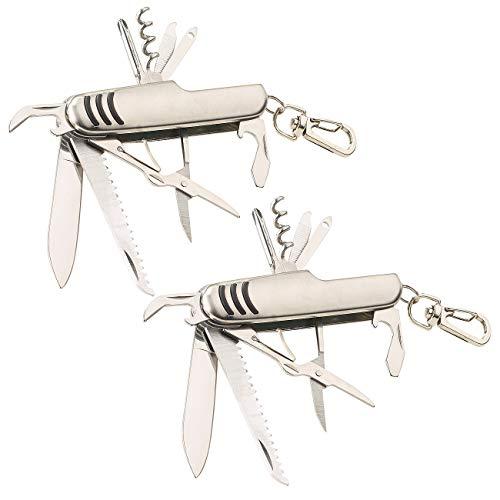 PEARL Offiziermesser: 2er-Set 11in1-Multifunktions-Taschenmesser aus Edelstahl (Stainless Rescue Knife)