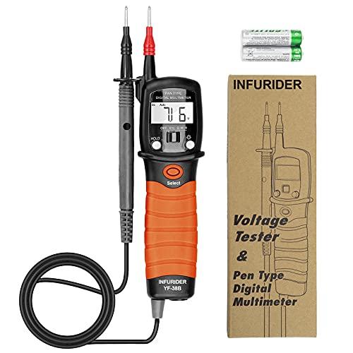 INFURIDER Stift Handmultimeter YF-38B Digitaler Spannungsprüfer Voltmeter,Multi Tester DC/AC Spannung, Widerstand,Diodentest und Durchgangssummer