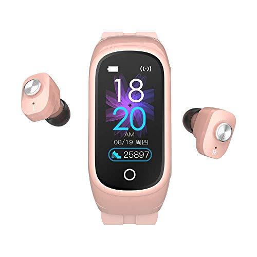 lcc N8 Pulsera Inteligente TWS Auricular Bluetooth Llamada Dos en uno Auricular Bluetooth Pulsera Inteligente Auricular música Controlador multifunción Reloj Deportivo rastreador de Actividad (Pink)