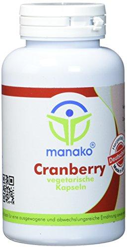 manako Cranberry vegetarische Kapseln, 25:1 Extrakt, 120 Stück, Dose 69 g (1 x 120 Kapseln)