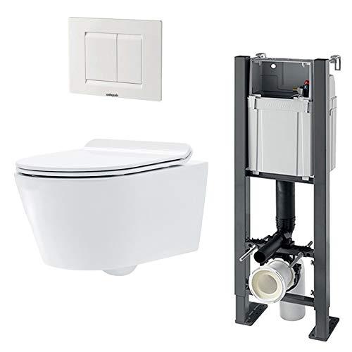 Pack complet WC suspendu autoportant SOHO : Bâti-support + Cuvette céramique + Abattant + Plaque...