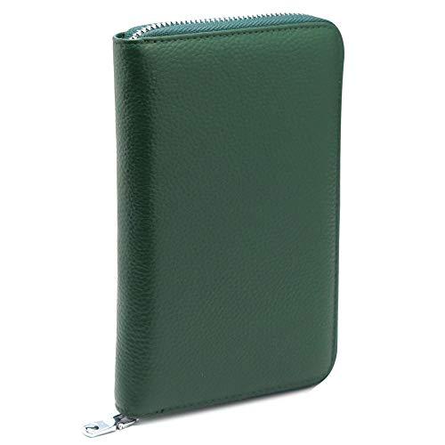 HAKATANOMORILEATHER本革通帳ケース磁気防止磁気シールド大容量RIFDスキミング防止キャッシュカード通帳入れ/パスポートケース保険証診察券ケースにも。(9グリーン)
