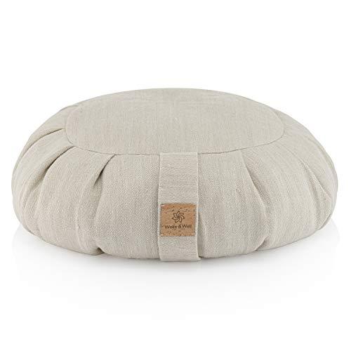 Woke & Well Natural Hemp Round Meditation Cushion - Zafu - Filled with Buckwheat - Washable Cover - Yoga Bolster Pillow
