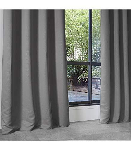 HomeMaison Rideau Occultant Uni en Polyester, Gris, 260x140 cm