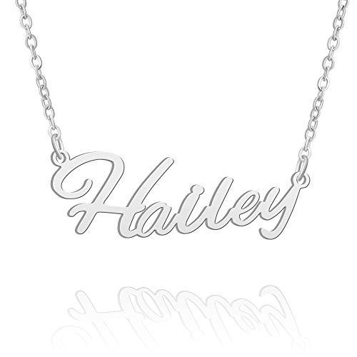 BUREI Damen Personalisierte Name Halskette Silber Anhänger Halskette Geschenke für Hailey