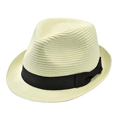 Faletony - Sombrero de paja para verano estilo fedora con cinta, plegable,...