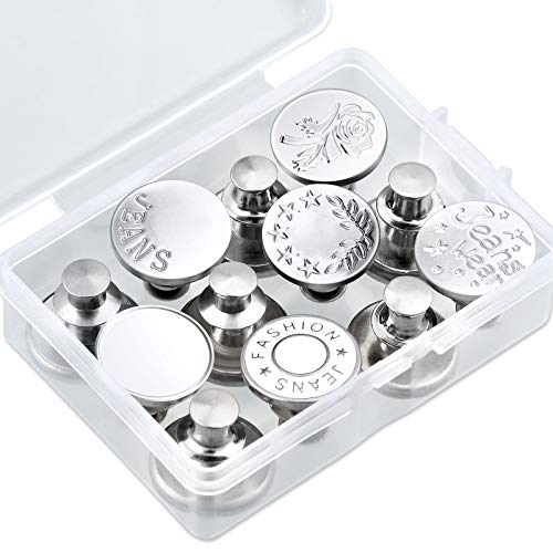12 Pairs Replacement Jean Buttons No Sew Instant Button 17 mm Removable Metal Button Cowboy Clothing Jackets Button Sewing Crafts DIY Clothes