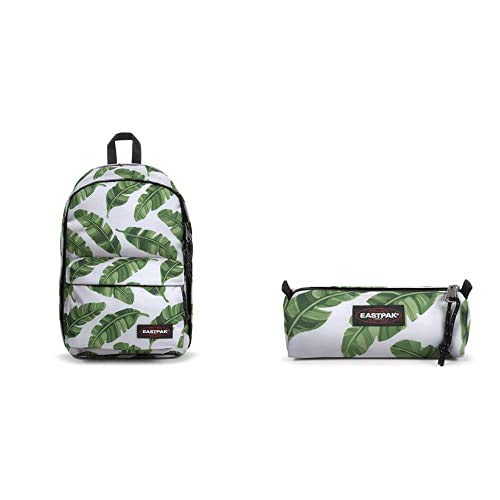 EASTPAK Back To Work Zaino, 43 cm, 27 L, Bianco (Brize Leaves Natural) + Benchmark Single Astuccio, 21 cm, Bianco (Brize Leaves Natural)