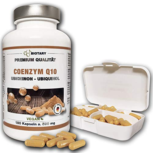 BIOTARY COENZYM Q10, 180 Kapseln a 200 mg, incl. Pillenbox, Hochdosierte Kapseln im 6 Monatsvorrat, Mit Vitamin C, B3, B7, schwarzem Pfeffer, Vegan, hohe Bioverfügbarkeit, Q10 Ubiquinol Ubichinon