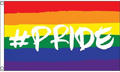 AZ FLAG Drapeau LGBT Arc-en-Ciel Hastag Pride 150x90cm - Drapeau Gay 90 x 150 cm - Drapeaux