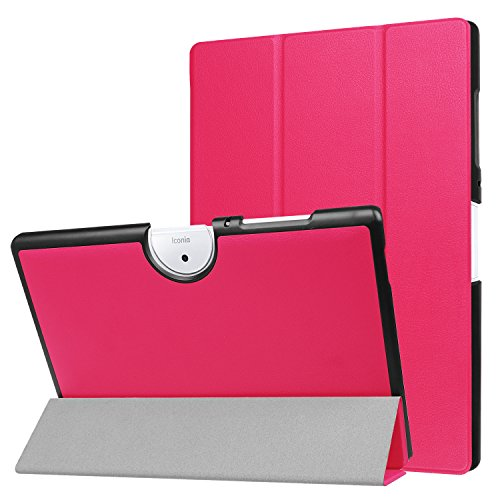 Aidinar Acer Iconia One 10 B3-A40 Case, Ultra Slim Tri-Fold Smart Case Cover with Auto Sleep/Wake, for Acer Iconia One 10 B3-A40 Tablet.(Rose Red)
