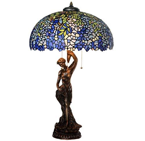 GH-YS Lámpara JKCWIN de 20 Pulgadas de Ancho, patrón de glicina Azul, Pantalla de vitral Hecha a Mano, lámpara de Cobre Puro, Diosa Creativa, lámpara de Mesa Decorativa para el Cuerpo