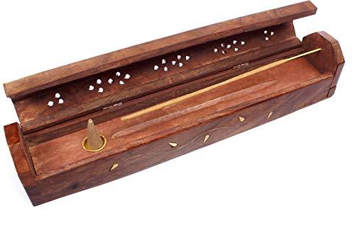 Luxflair Räucherbox Rauchverteiler Räucherkasten Räuchersarg Räucherkiste mit Messing Ornamenten, für Räucherstäbchen und Räucherkegel geeignet, verwendbar als Räuchergefäß oder Räucherkasten