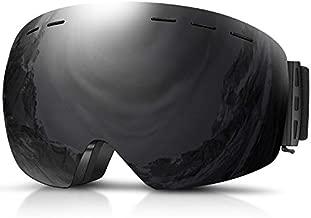 DADA-PRO Ski Goggles, Men Women Snowboard Goggles Over Glasses OTG Anti Fog Frameless Jet Snow, UV Protection Sunglasses (Black)